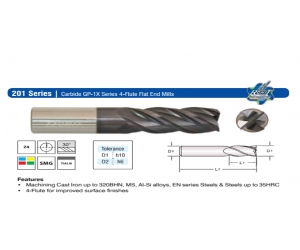 Solid Carbide Flat End Mill 1X